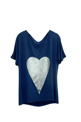 French Navy Metallic Heart Tee