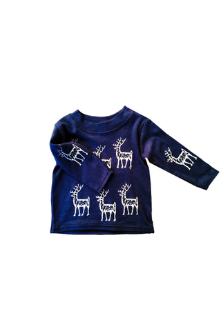 Blitzen Baby Silver and Navy Christmas Top