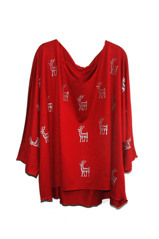 Red Draped Silver Stag Tunic