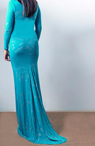 Teal Metallic  Gown