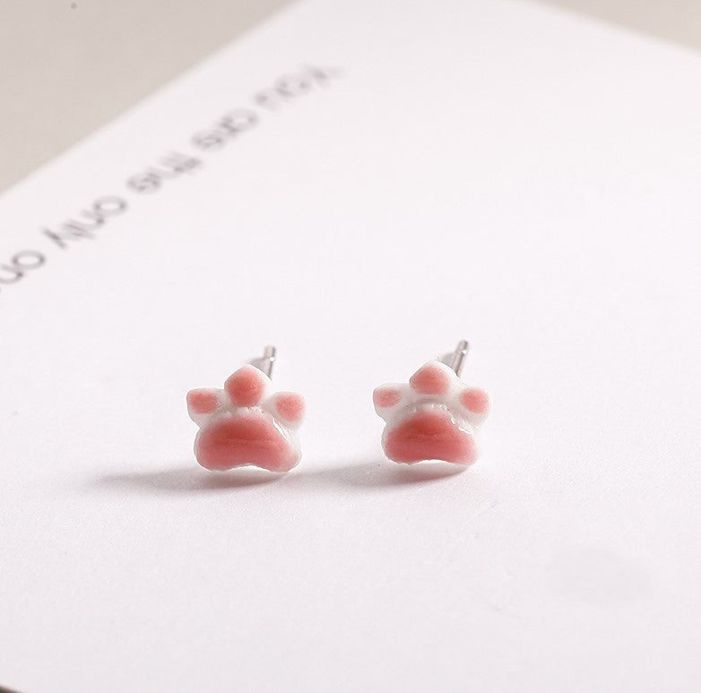Korean Style Cat Paw Pink Cute Stud Earring