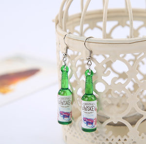 Mini Whiskey Bottles Hoop Earrings