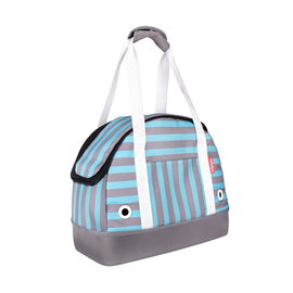 "IBIYAYA ""HOP IN!"" BOWLING BAG STYLE PET CARRIER - MINT MONOSTRIPE"