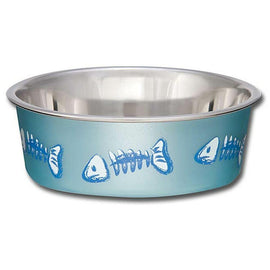 LOVING PETS BELLA BOWL FISH SKELETON DESIGN BLUE 240ML