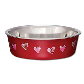LOVING PETS BELLA BOWLS HEARTS VALENTINE RED 240ML