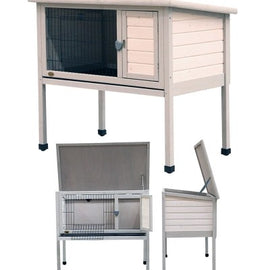 PET ONE SMALL ANIMAL HUTCH N RUN TIMBER 104LX62.7DX91.1H CM