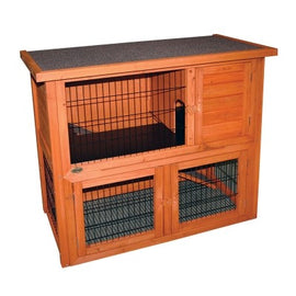 PET ONE HUTCH & RUN WOODEN TWO STOREY104WX52DX92H CM