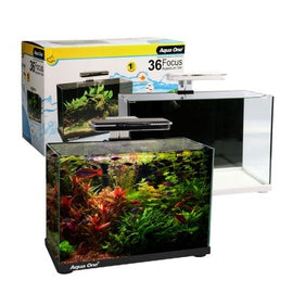 AQUA ONE FOCUS 36 GLASS AQUARIUM 36L 50L X 25D X 34CM H (WHITE)