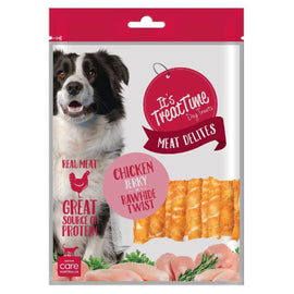 IT'S TREAT TIME DOG TREATS RAWHIDE CHICKEN TWIST STICKS 500G