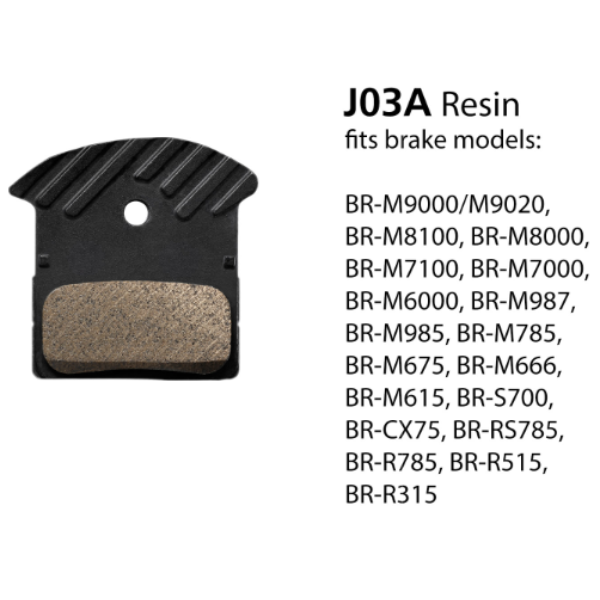 Shimano J03A Disc Brake Pads w/Fin Resin 1 Pair