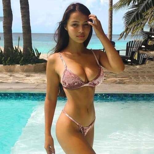 High Quality Women's Velvet Bikini Set Swimming