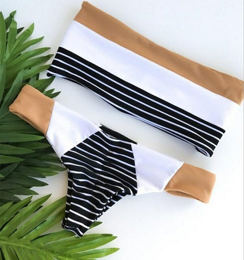 New Arrival Women Stripe Bikini Bra Swimsuit