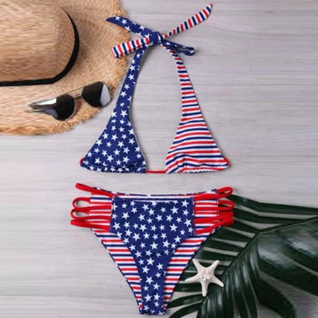 New Arrival Women Swimwear American Print Flag