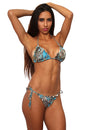 Women's Blue True Timber Ruffled Bikini Swimwear Swimsuit