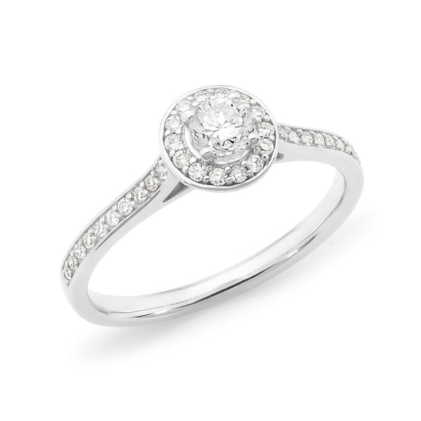 0.37ct Round Brilliant Cut Diamond Claw/Bead Set Halo Engagement Ring in 18ct White Gold