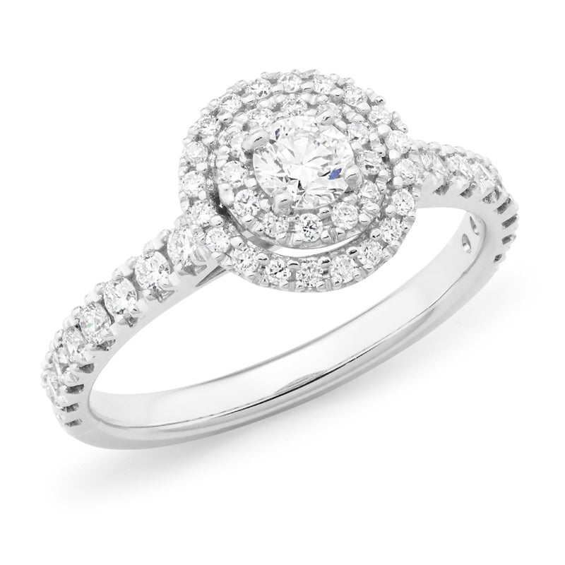 0.78ct Round Brilliant Cut Diamond Claw Set Halo Engagement Ring in 18ct White Gold