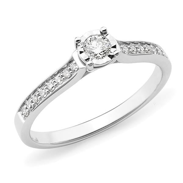 0.20ct Round Brilliant Cut Diamond Illusion Bead Set Engagement Ring in 9ct White Gold