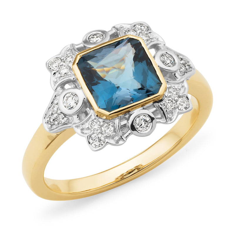 London Blue Topaz & Diamond Bezel/Bead Set Coloured Stone Dress Ring in 9ct Yellow & White Gold