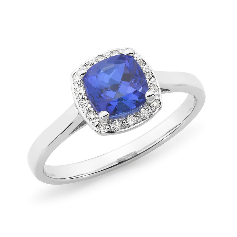 Tanzanite & Diamond Halo Dress Ring in 9ct White Gold
