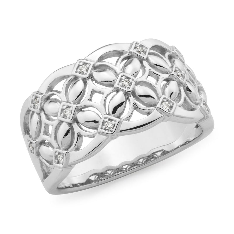0.065ct Bead Set Diamond Dress Ring in 9ct White Gold