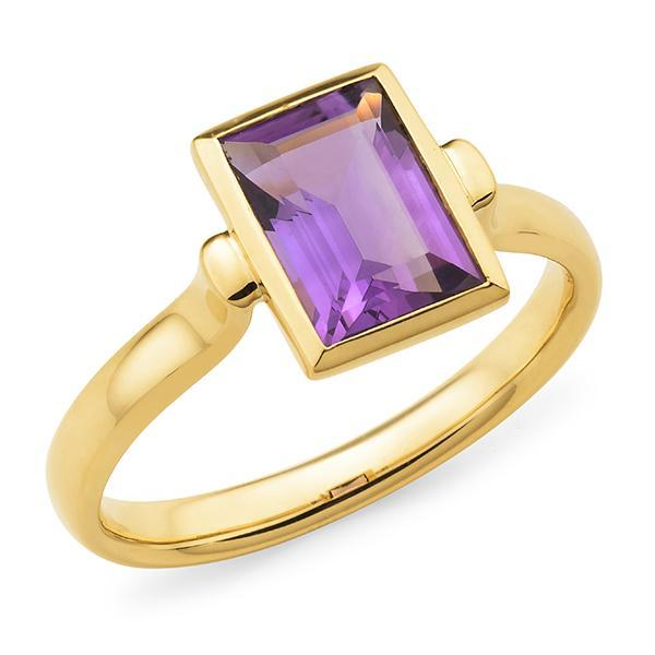 Amethyst Bezel Set Dress Ring in 9ct Yellow Gold
