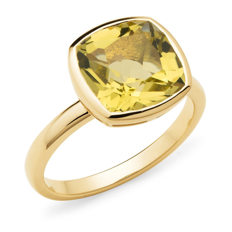 Lemon Quartz Bezel Set Dress Ring in 9ct Yellow Gold
