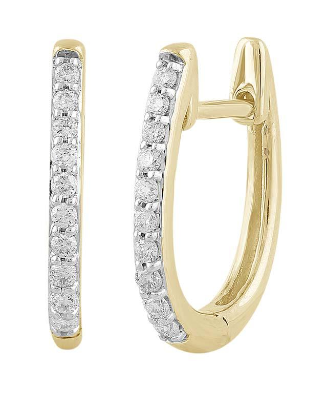 9ct Yellow Gold WG Pave Set TDW 20=0.15ct Huggie Earrings