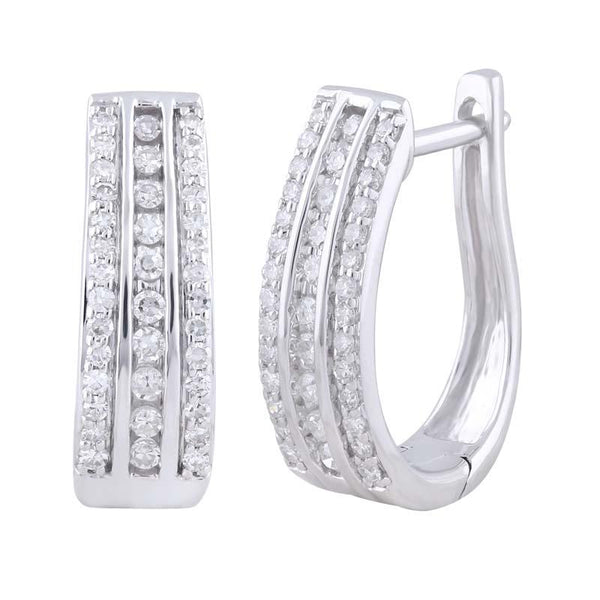 9ct White Gold Diamond TDW 78=0.33ct HI-SI Pave Channel Huggie Earrings