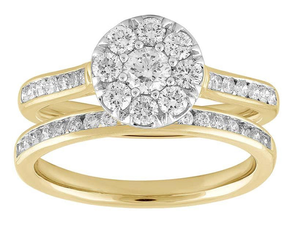 18ct Yellow & White Gold 1.00ct Diamond Halo Bridal Ring Set