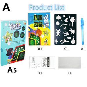 1PC A4 A5 LED Luminous Drawing Board Graffiti Doodle Drawing Tablet Magic Draw With Light-Fun Fluorescent Pen Homeschool Educational Toy