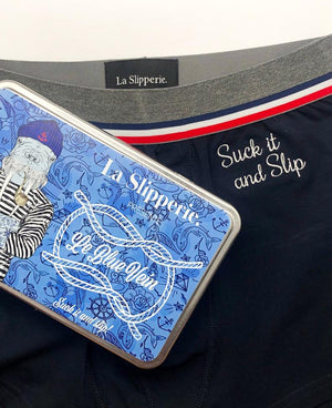 Le Suck it and slip, boxer homme bleu marine à la référence rock à un album des Arctic Monkeys