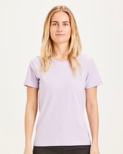 Knowledge Cotton - Basic Tshirt ROSA - bright white oder pastel lilac
