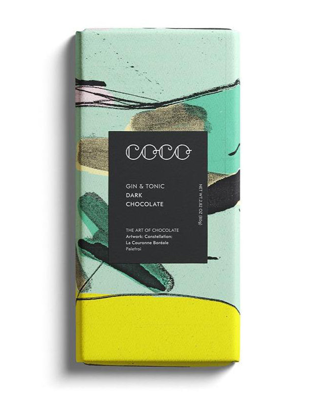 COCO Chocolatier - Gin & Tonic Dark Chocolate - 80g