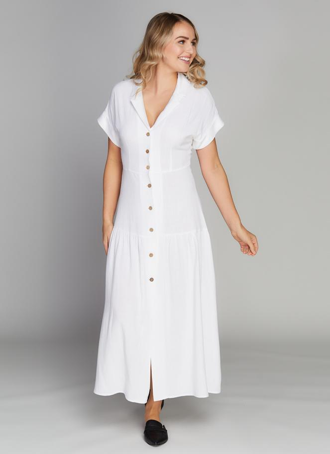C'est Moi Button Down Linen Dress