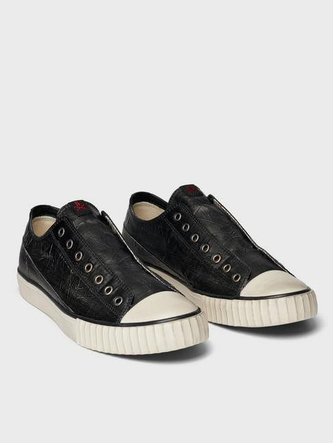 Coated Linen Lace-Less Low Top Vulcanized Sneaker