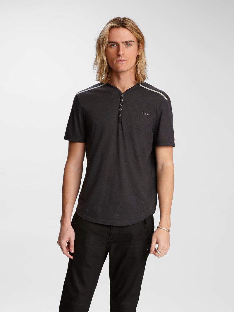 John Varvatos Lansing Technical Space Dye Snap Henley Tee