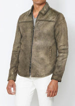 Danny Distressed Leather Shirt Jacket