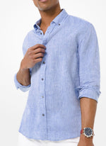 Michael Kors Slim-Fit Yarn Dyed Linen Shirt