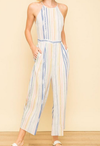 Mystree Multi-Stripe Halter Neck Jumpsuit
