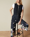 Ted Baker Navy Jumpsuit with Floral Ankle Trim And Front Zipper
