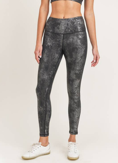 Black Grey Snake Foil Print Highwaisted Leggings
