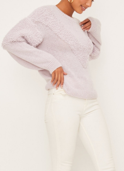 Textured Chevron Sweater in Lilac