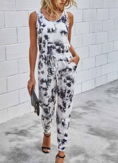 Sleeveless Black and White Marble Print Jumpsuit