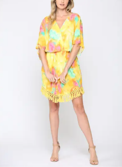 Tie Dye Front Twisted Dress/Tassel Trim Hem