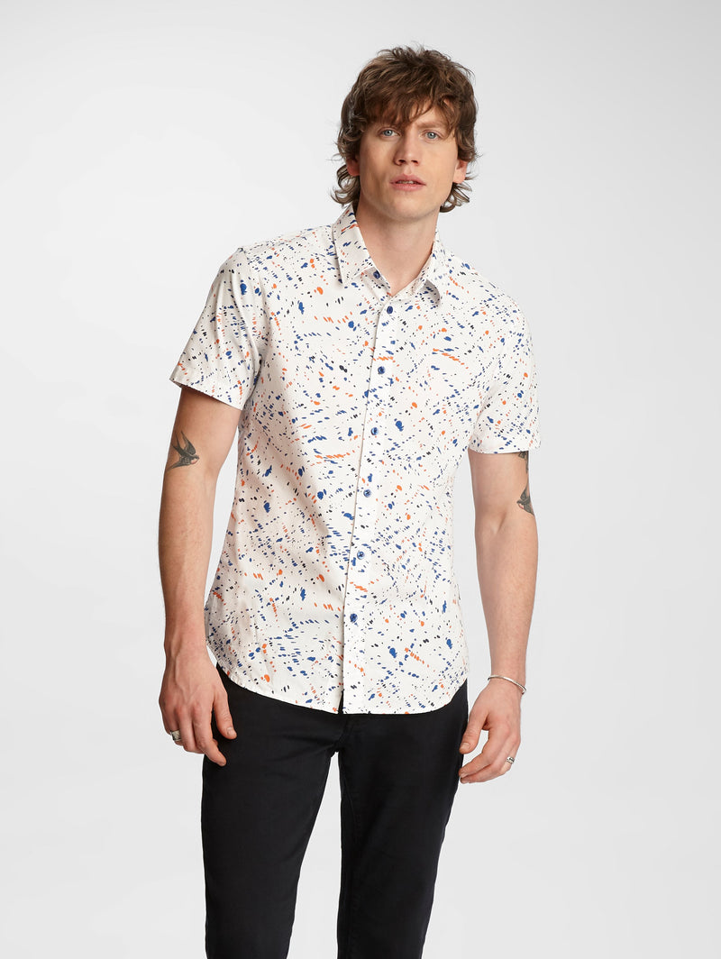 Doug Paint Splatter Short Sleeve Slim Fit Sport Shirt