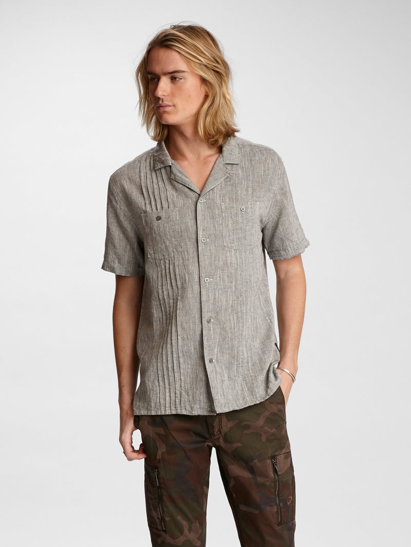 John Varvatos Benny Short Sleeve Pleated Guayabera Easy Fit Shirt