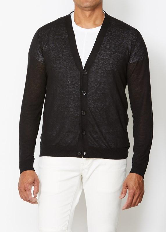 Whitmore Long Sleeve Refined Cardigan with Tape at Shoulder