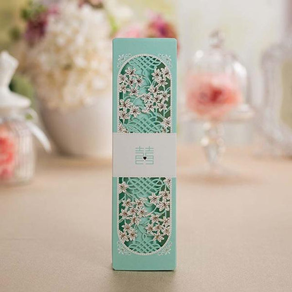 100PCS Double Happiness Flower Box Packing Chinese Wedding Scroll Invitation Card - Chinese Wedding