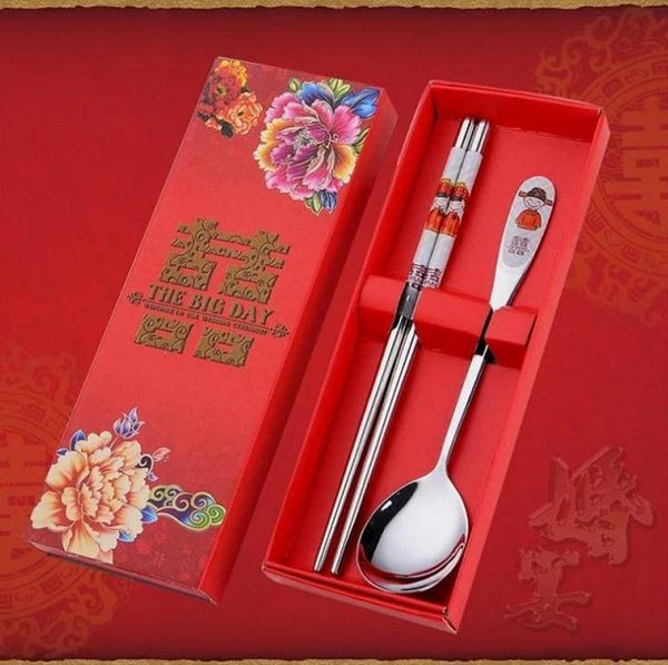 100PCS Stainless Steel Double Happiness Spoons & Chopsticks Set for Chinese Wedding - SN560 - Chinese Wedding