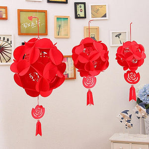 10PCS Felt Ball-Flower Unique Double Happiness for Chinese Wedding - Chinese Wedding